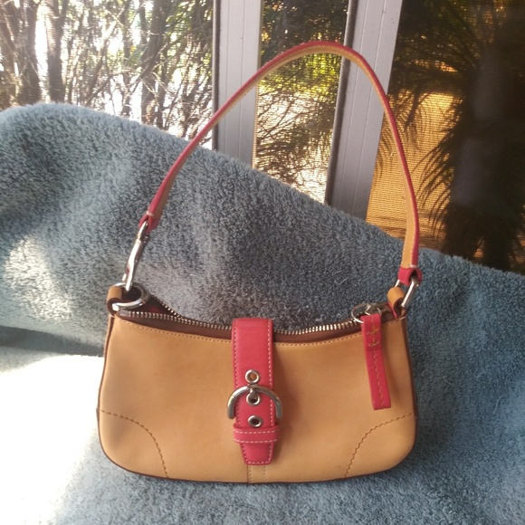 Coach Handbags - Small Coach bag camel and pink